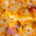 A close up of some kimchi mac and cheese
