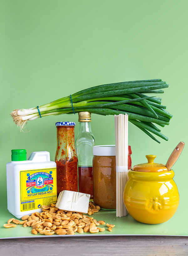 The ingredients for mapo noodles with silken tofu
