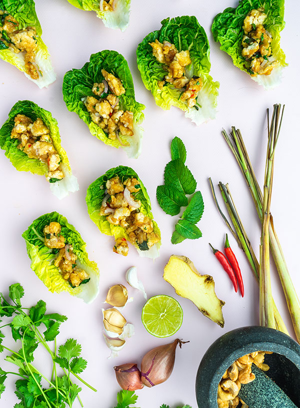 Tofu larb gai spread out with some of the ingredients