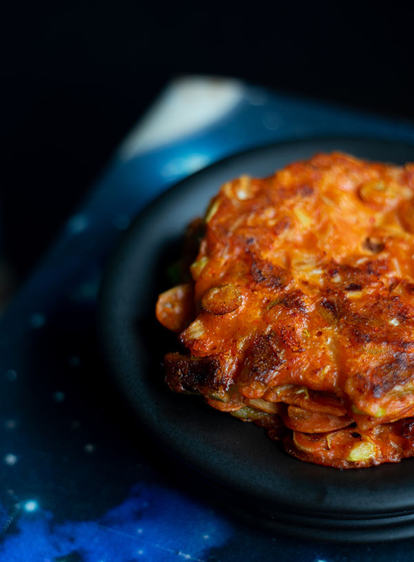 A close up of some easy vegan kimchi pancakes