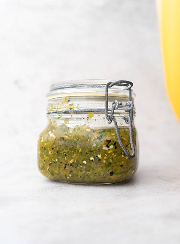 A jar of salsa verde.